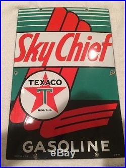 Nearly NOS 1947 Vintage Original Texaco Skychief Porcelain Gas Pump Sign