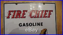 Nice 1959 TEXACO Fire Chief Porcelain Gas Pump Plate Sign