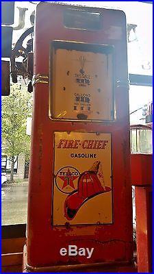 ORIGINAL Texaco Fire Chief Gas Pump With Original Enamel Signs