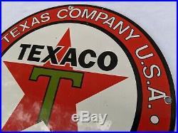 Old 1950's Vintage Texaco Star Gasoline Porcelain Enamel Oil Gas Fuel Pump Sign