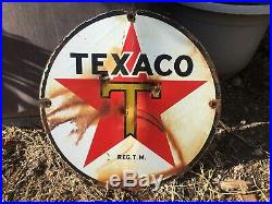 Old Porcelain Original Texaco Gas Pump Sign