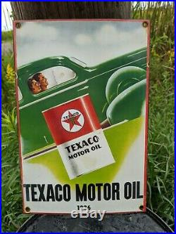 Old Vintage 1936 Texaco Motor Oil Porcelain Gas Pump Advertising Sign