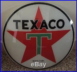 One (1) Original Texaco Gas Pump Globe 13 1/2 Glass Panel Lens