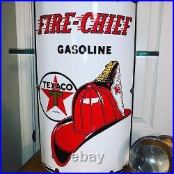 Original 1940 Vintage TEXACO FIRE CHIEF Large Curved Porcelain Gas Pump Sign