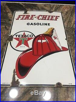 Original 1941 Vintage TEXACO FIRE CHIEF Large Curved Porcelain Gas Pump Sign