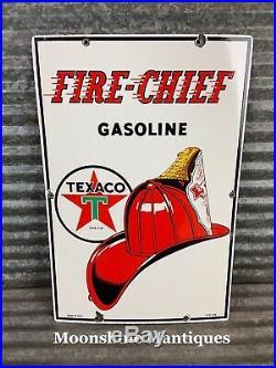 Original 1949 TEXACO Fire Chief Porcelain Gas Pump Plate Sign