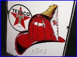 Original 1950 Texaco Fire Chief Gasoline Porcelain Sign 12 x 18 Gas Pump