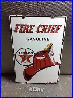 Original 1950's TEXACO Fire Chief Gas Pump Plate Porcelain Sign Gas & Oil