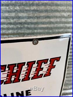 Original 1950s TEXACO Fire Chief Porcelain Gas Pump Plate Sign