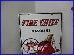 Original 1957 Texaco Fire Chief Gasoline Gas Pump Service Station Porcelain Sign