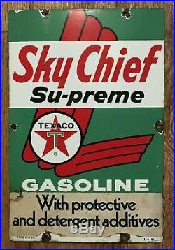 Original 1961 Porcelain Gas Pump Plate Sky Chief / Texaco Gas Pump Parts