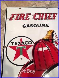 Original 1962 Texaco Fire Chief Gas Pump Porcelain Sign
