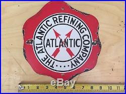 % Original Atlantic PORCELAIN PUMP PLATE Fried Egg Sign Gas Pump Texaco