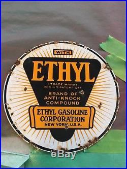 Original Gas Pump Contains Lead Porcelain Sign / Ethyl 8 Sign Texaco Sinclair
