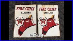 Original Matching Pair Texaco Fire Chief Porcelain Gas Pump Plate Sign 1965