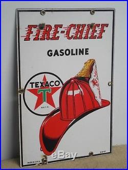 Original Porcelain Texaco Fire Chief Gas Pump Sign Small 12 x 8