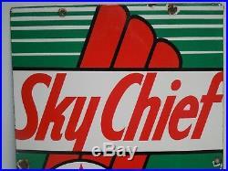 Original Porcelain Texaco Sky Chief Gas Pump Sign