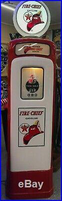 Original Restored Texaco Fire Chief Wayne M & S Tall Gas Pump Freight Ship Avail