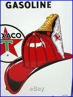 Original TEXACO FIRE CHIEF PORCELAIN Sign GAS pump plate 1962 OIL 18 nice