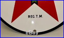 Original Texaco Gas Pump Sign 11 3/4 Porcelain Gasoline & Oil Green Red Vintage