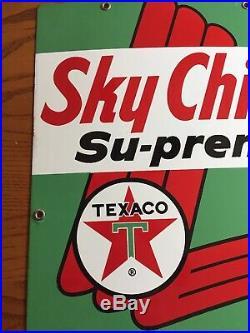 Original Texaco Sky Chief Su-Preme Petrox Porcelain Medal Gas Pump Sign