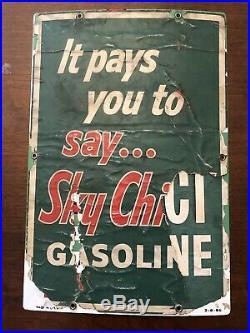 Original Texaco Sky Chief Su-Preme Petrox Porcelain Metal Gas Pump Sign