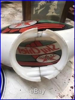 Original Texaco Skychief Gas Pump Globe 13.5 Authentic
