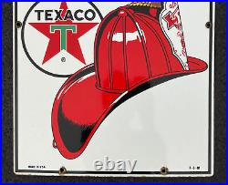 Original Vintage 1960 TEXACO FIRE CHIEF Porcelain Gas Pump Plate 18 Oil Sign