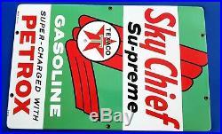 Original Vintage Texaco Sky Chief Su-Preme Petrox Porcelain Medal Gas Pump Sign