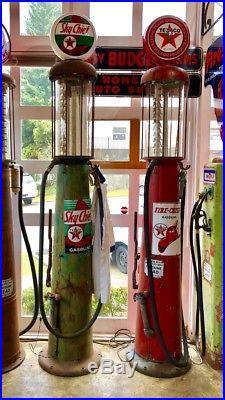 Original WAYNE 615 1920's VISIBLE GAS PUMPS Texaco 2 PUMPS