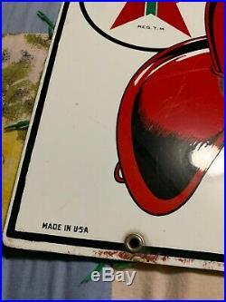Original porcelain Sign Fire Chief gas Pump Plate 1954