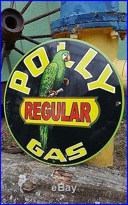POLLY GAS enamel sign display rack vintage motor oil gas pump plate petroleum