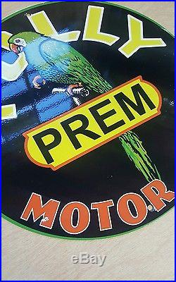 POLLY MOTOR OIL enamel sign display rack vintage gas pump plate petroleum
