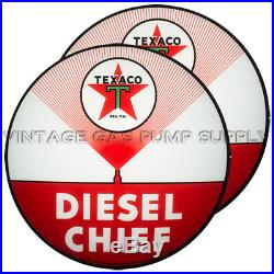 Pair of Texaco Diesel Chief 13.5 Gas Pump Lenses (G193)
