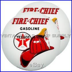 Pair of Texaco Fire Chief 13.5 Gas Pump Lenses (G195)