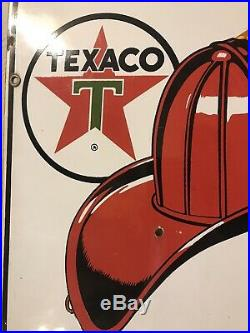 Porcelain Texaco Pump Plate Original Canadian Version Gas Oil Signs Fire Chief