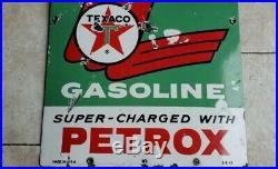 RARE ORIGINAL 1963 Sky Chief Texaco Petrox Gasoline Porcelain Gas Oil Pump Sign