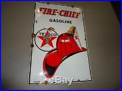 RARE Original 1951 Texaco Fire Chief Porcelain Medal Gas Pump Sign Dated