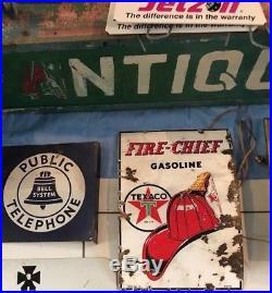 RARE VINTAGE 1945 TEXACO FIRE CHIEF GAS PUMP PLATE SIGN porcelain