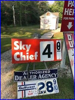RARE VINTAGE ORIGINAL TEXACO SKY CHIEF GAS PUMP PRICE SWINGING SIGN 2 sided