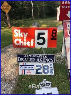 RARE VINTAGE ORIGINAL TEXACO SKY CHIEF GAS PUMP PRICE SWINGING SIGN 2 sided x 45