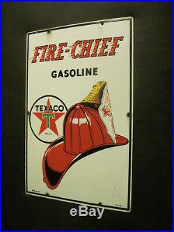 Rare 1950 Texaco Fire Chief Gasoline Porcelain Gas Pump Sign