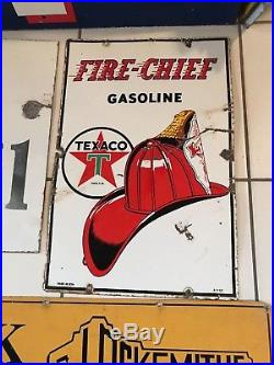 Rare Vintage Original Gas Oil Sign TEXACO FIRE CHIEF GAS PUMP PLATE SIGN 1950