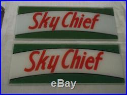 Rare Vintage Texaco Sky Chief Original Glass Gas Pump Plates