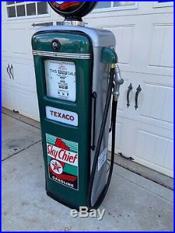 Restored 1940s TEXACO Sky Chief Gilbarco Gas Pump Mancave / Garage Decor