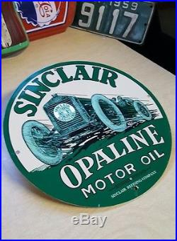 SINCLAIR OPALINE MOTOR OIL enamel sign vintage racing gasoline gas pump plate