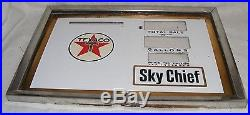 SKY CHIEF GAS PUMP VTG Texaco PORCELAIN PUMP PRICE SIGN FACE PLATE & BEZEL