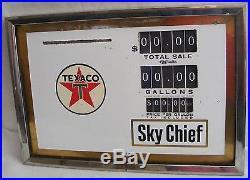 SKY CHIEF SIGN GAS PUMP VTG Texaco PORCELAIN PUMP PRICE FACE PLATE & BEZEL