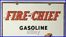 Scarce Original 1947 Texaco Fire Chief Porcelain Gas Pump Sign 12 X 18