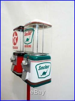 Sinclair + Texaco gasoline double gumball machine gas pump bar game room decor